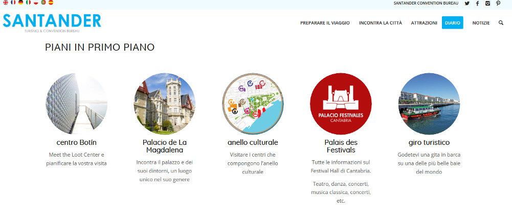 Traducción al italiano de la web de turismo del Ayuntamiento de Santander en la que Botín ha sido traducido por 'loot'