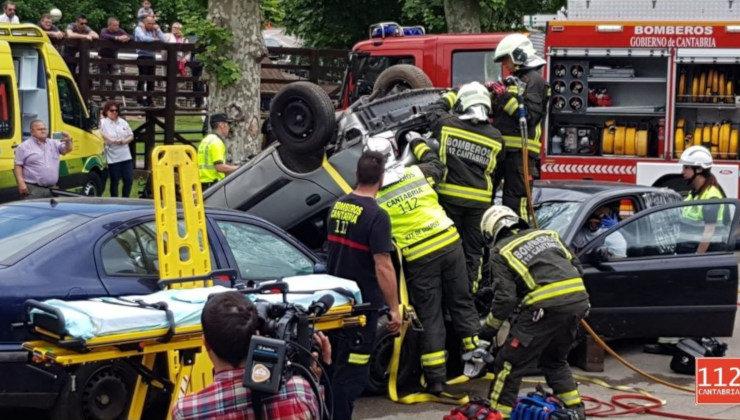 Simulacro accidente de tráfico en Cartes